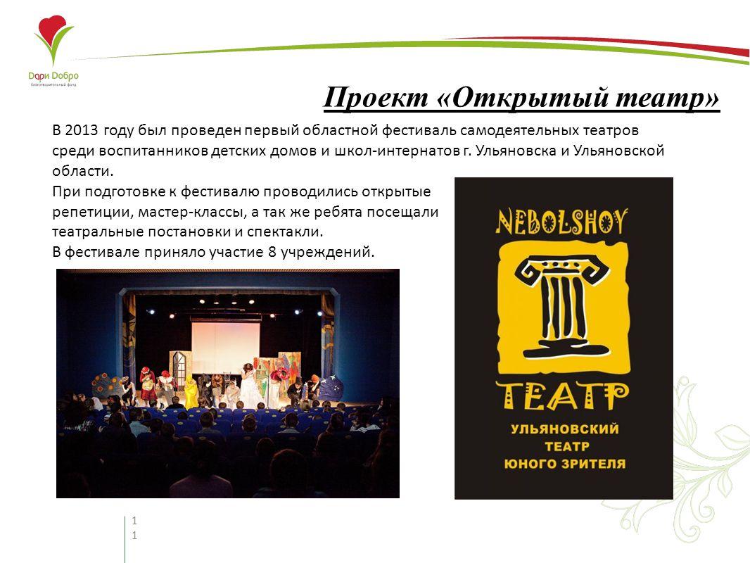 11 Проект «Открытый театр» В 2013 году был проведен первый областной фестиваль самодеятельных театров среди воспитанников детских домов и школ-интернатов г.