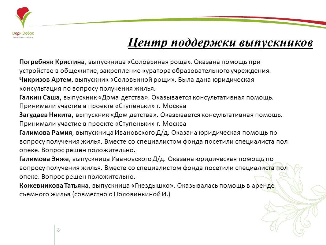 8 Центр поддержки выпускников Погребняк Кристина, выпускница «Соловьиная роща».