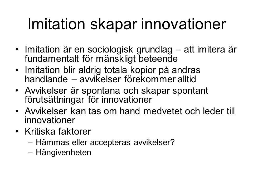 Imitation skapar innovationer •Imitation är en sociologisk grundlag – att imitera är fundamentalt för mänskligt beteende •Imitation blir aldrig totala kopior på andras handlande – avvikelser förekommer alltid •Avvikelser är spontana och skapar spontant förutsättningar för innovationer •Avvikelser kan tas om hand medvetet och leder till innovationer •Kritiska faktorer –Hämmas eller accepteras avvikelser.