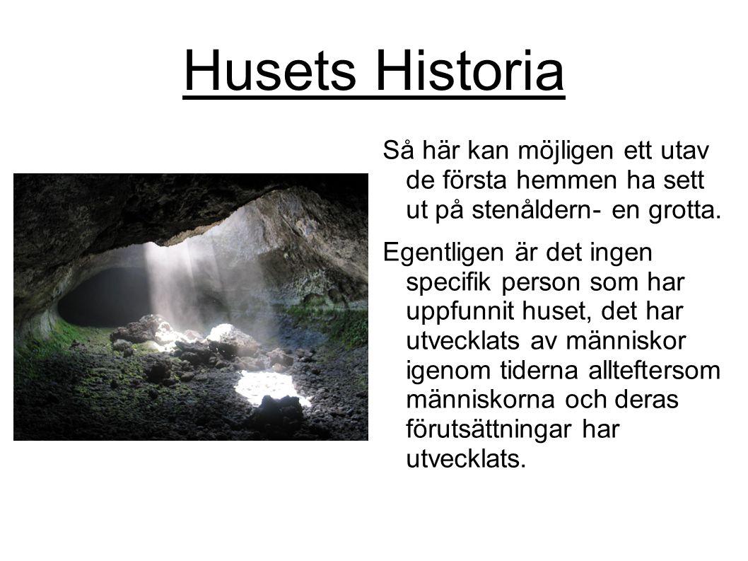 Husets Historia Så här kan möjligen ett utav de första hemmen ha sett ut på stenåldern- en grotta. Egentligen är det ingen specifik person som har upp