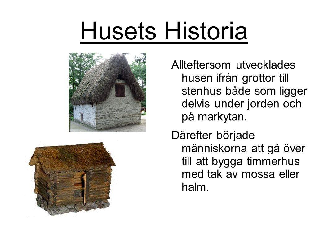 Husets Historia Allteftersom utvecklades husen ifrån grottor till stenhus både som ligger delvis under jorden och på markytan. Därefter började männis