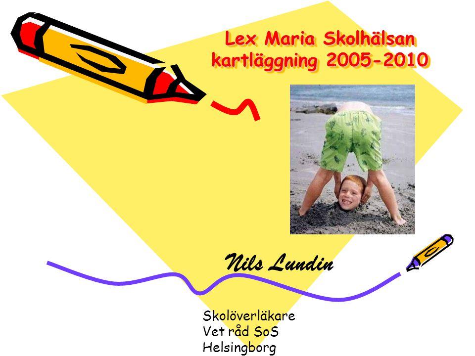 Lex Maria Skolhälsan kartläggning 2005-2010 Nils Lundin Skolöverläkare Vet råd SoS Helsingborg