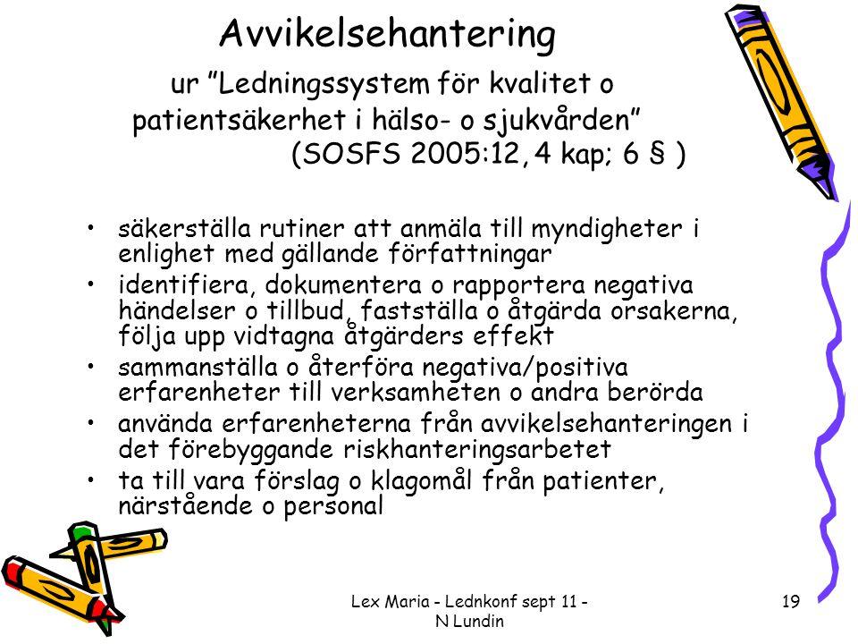 """Lex Maria - Lednkonf sept 11 - N Lundin 19 Avvikelsehantering ur """"Ledningssystem för kvalitet o patientsäkerhet i hälso- o sjukvården"""" (SOSFS 2005:12,"""