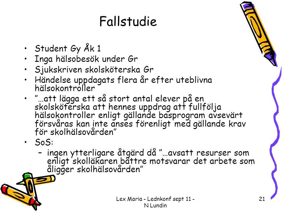 Lex Maria - Lednkonf sept 11 - N Lundin 21 Fallstudie •Student Gy Åk 1 •Inga hälsobesök under Gr •Sjukskriven skolsköterska Gr •Händelse uppdagats fle