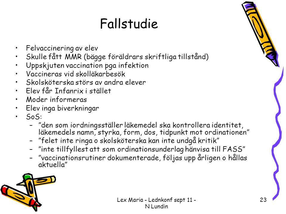 Lex Maria - Lednkonf sept 11 - N Lundin 23 Fallstudie •Felvaccinering av elev •Skulle fått MMR (bägge föräldrars skriftliga tillstånd) •Uppskjuten vac