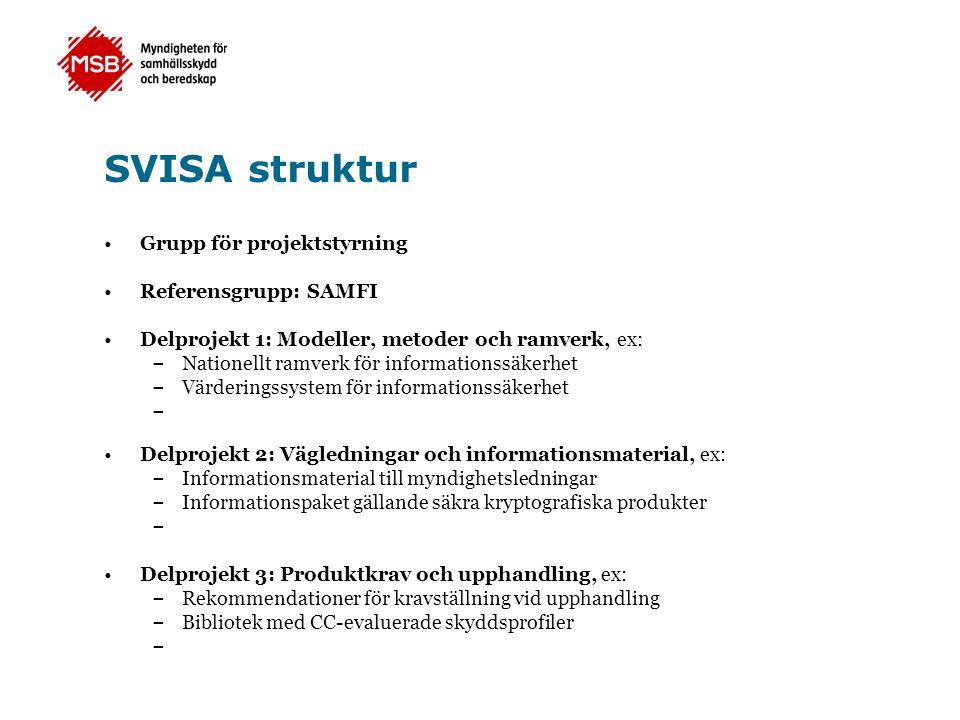 SVISA struktur •Grupp för projektstyrning •Referensgrupp: SAMFI •Delprojekt 1: Modeller, metoder och ramverk, ex: – Nationellt ramverk för information