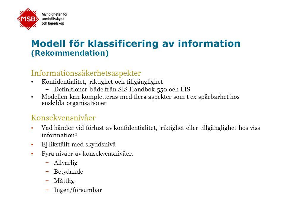 Modell för klassificering av information (Rekommendation) Informationssäkerhetsaspekter •Konfidentialitet, riktighet och tillgänglighet – Definitioner