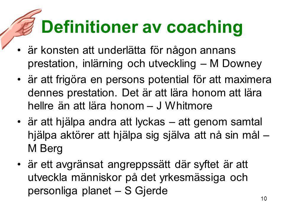 10 Definitioner av coaching •är konsten att underlätta för någon annans prestation, inlärning och utveckling – M Downey •är att frigöra en persons pot