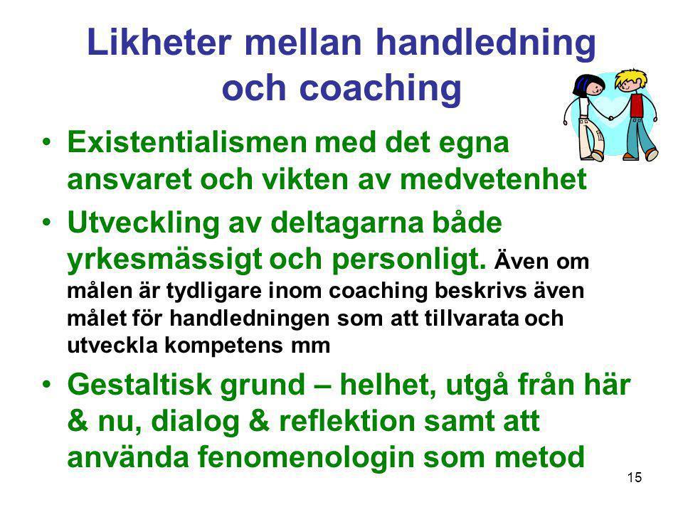 15 Likheter mellan handledning och coaching •Existentialismen med det egna ansvaret och vikten av medvetenhet •Utveckling av deltagarna både yrkesmäss