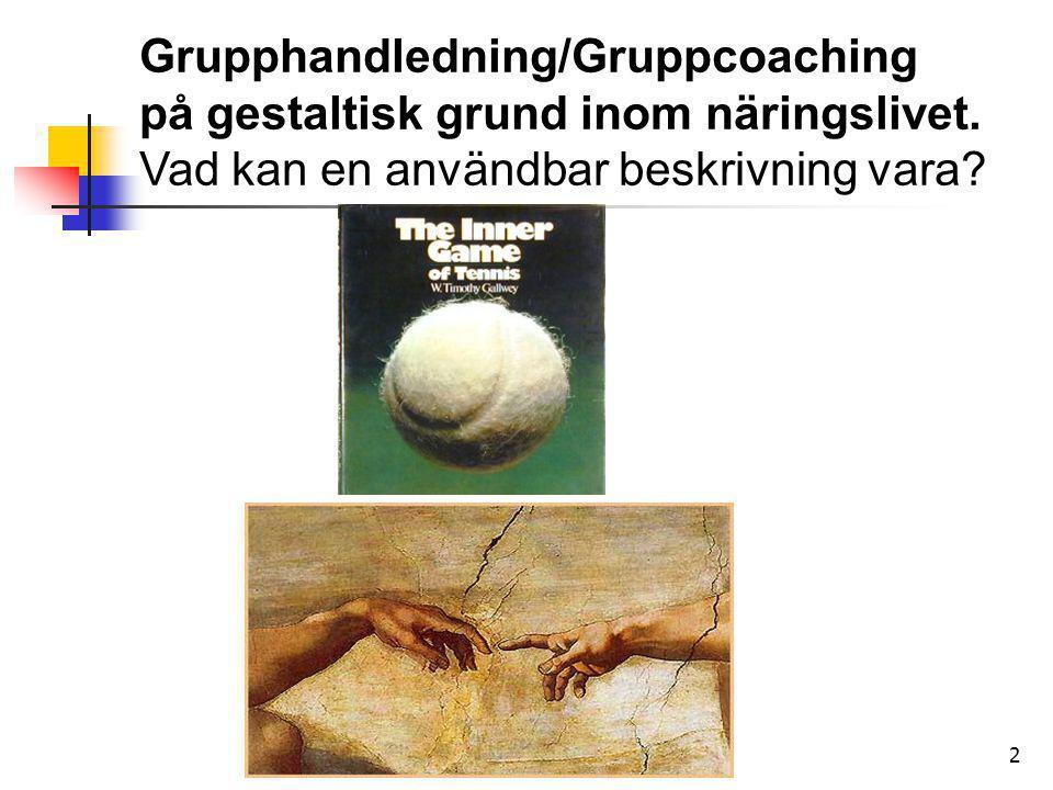 2 Grupphandledning/Gruppcoaching på gestaltisk grund inom näringslivet. Vad kan en användbar beskrivning vara?