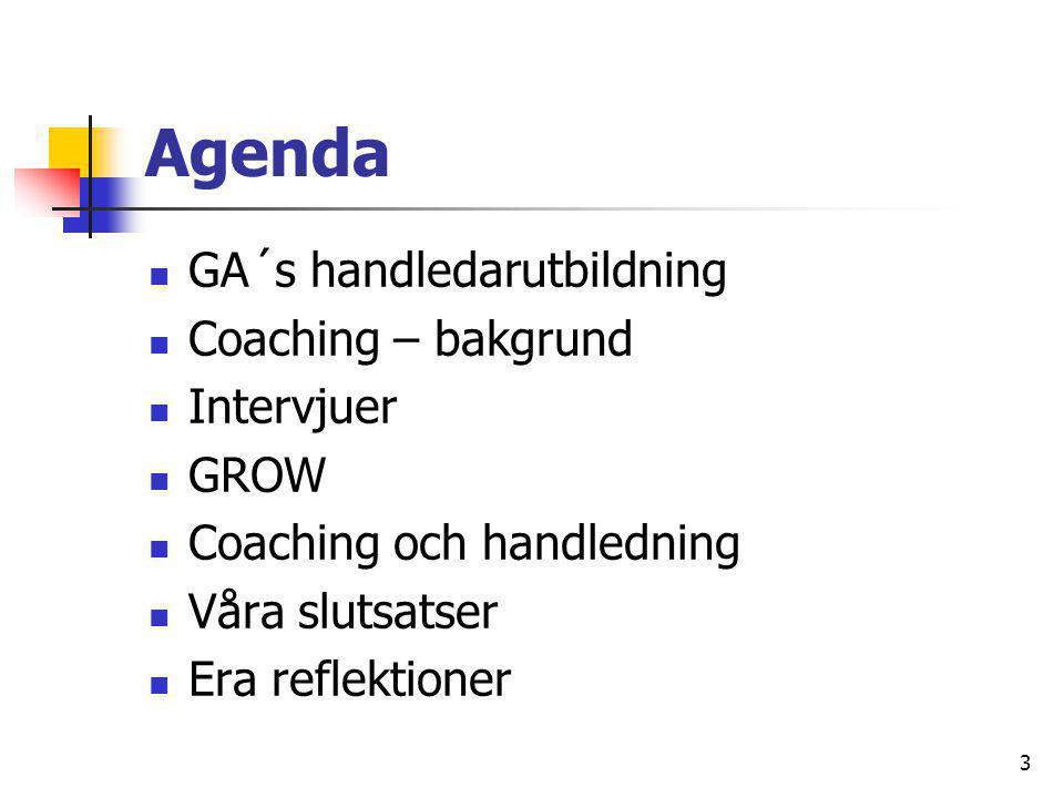 3 Agenda  GA´s handledarutbildning  Coaching – bakgrund  Intervjuer  GROW  Coaching och handledning  Våra slutsatser  Era reflektioner