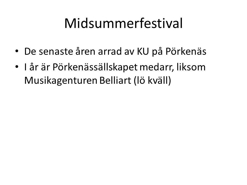 Midsummerfestival • De senaste åren arrad av KU på Pörkenäs • I år är Pörkenässällskapet medarr, liksom Musikagenturen Belliart (lö kväll)