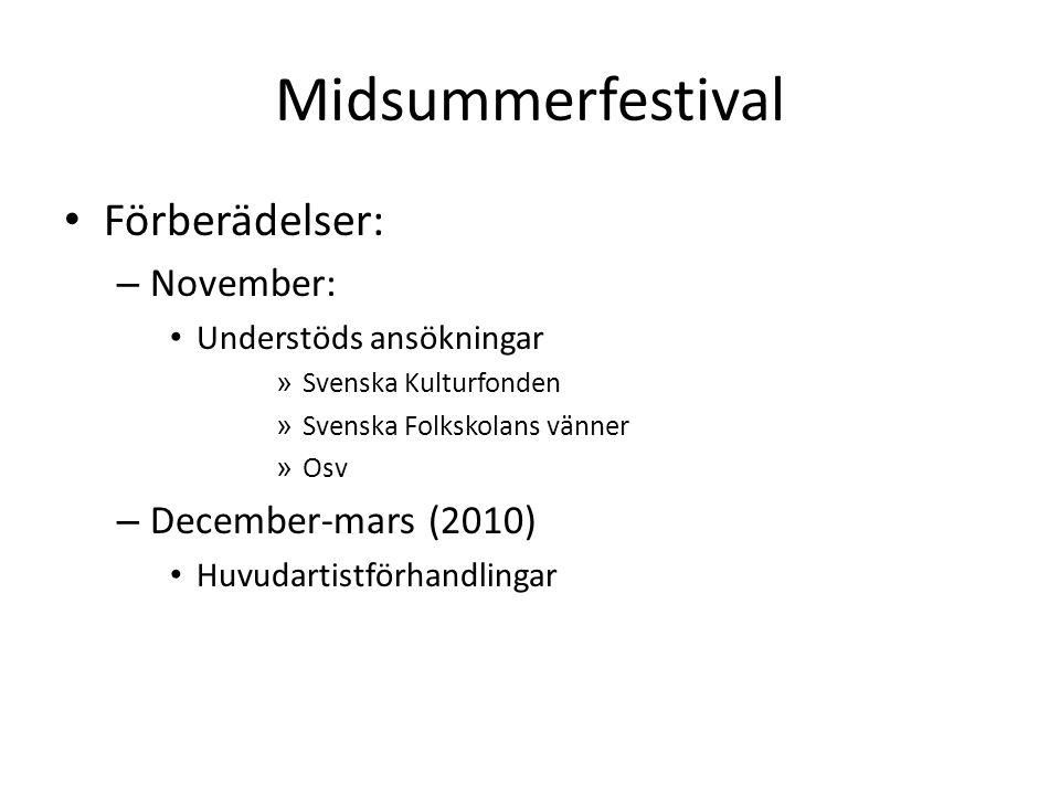 Midsummerfestival • Förberädelser: – November: • Understöds ansökningar » Svenska Kulturfonden » Svenska Folkskolans vänner » Osv – December-mars (2010) • Huvudartistförhandlingar