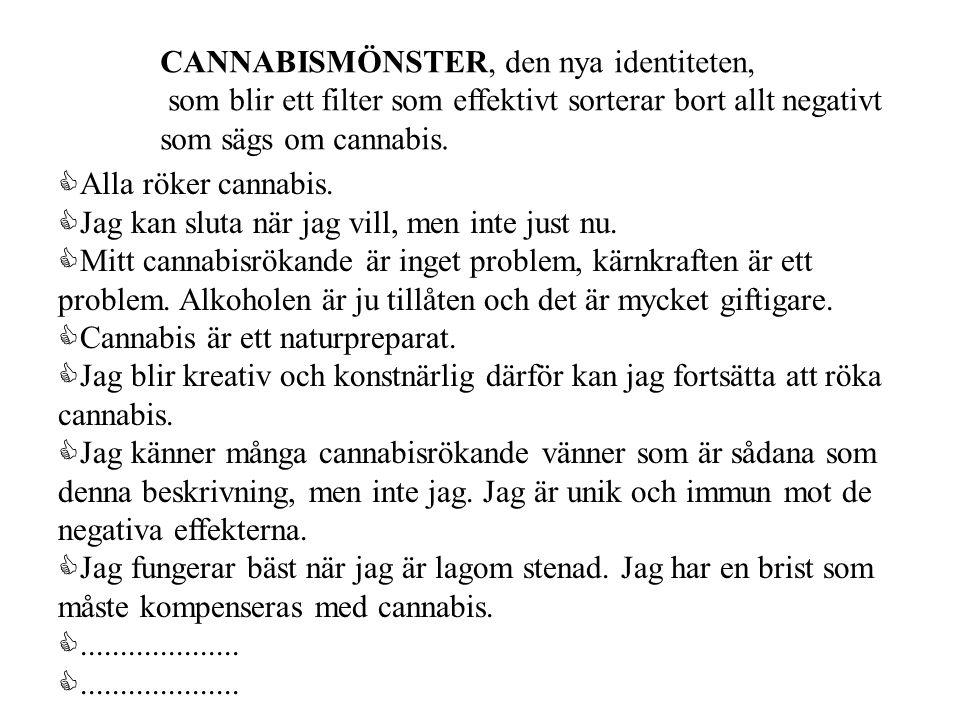 CANNABISMÖNSTER, den nya identiteten, som blir ett filter som effektivt sorterar bort allt negativt som sägs om cannabis. CAlla röker cannabis. CJag k