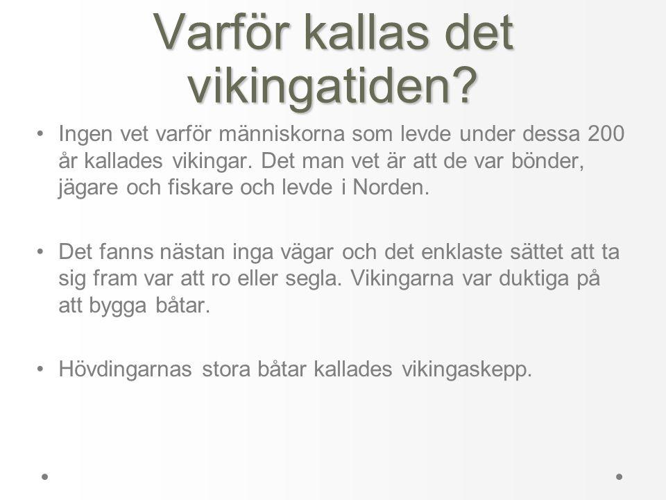 Varför kallas det vikingatiden? •Ingen vet varför människorna som levde under dessa 200 år kallades vikingar. Det man vet är att de var bönder, jägare
