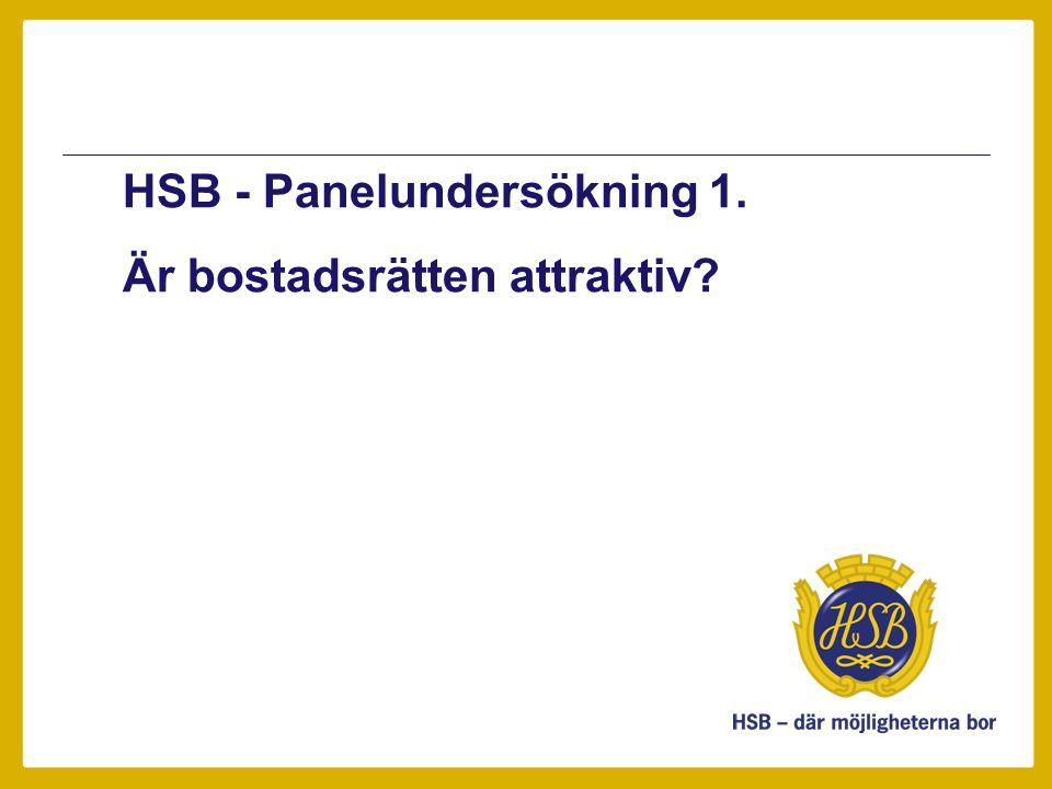 HSB - Panelundersökning 1. Är bostadsrätten attraktiv