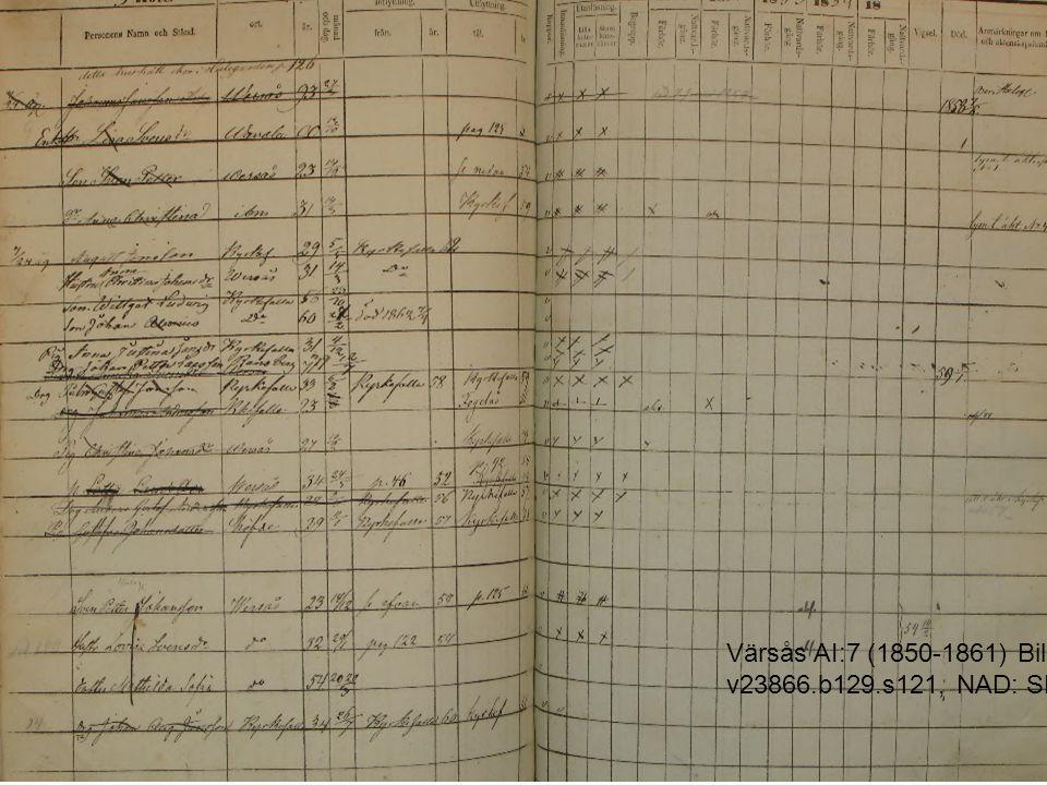 Värsås AI:7 (1850-1861) Bild 129 / sid 121 (AID: v23866.b129.s121, NAD: SE/GLA/13639)