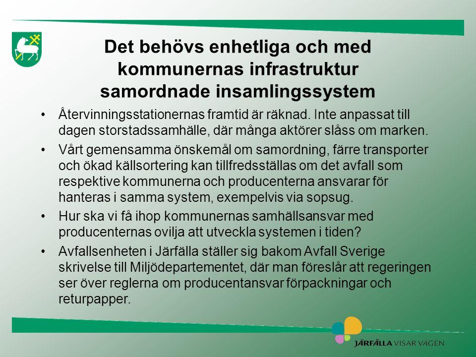 Det behövs enhetliga och med kommunernas infrastruktur samordnade insamlingssystem •Återvinningsstationernas framtid är räknad. Inte anpassat till dag