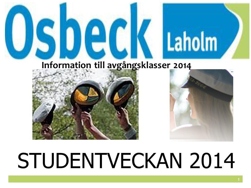 1 STUDENTVECKAN 2014 Information till avgångsklasser 2014