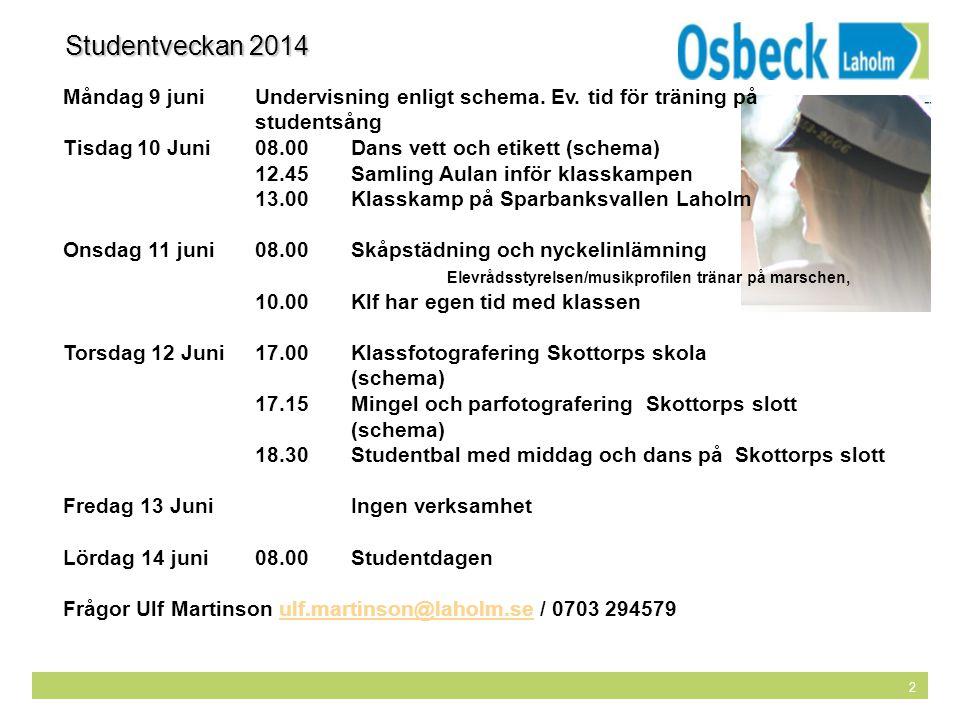 2 Studentveckan 2014 Måndag 9 juniUndervisning enligt schema. Ev. tid för träning på studentsång Tisdag 10 Juni08.00 Dans vett och etikett (schema) 12