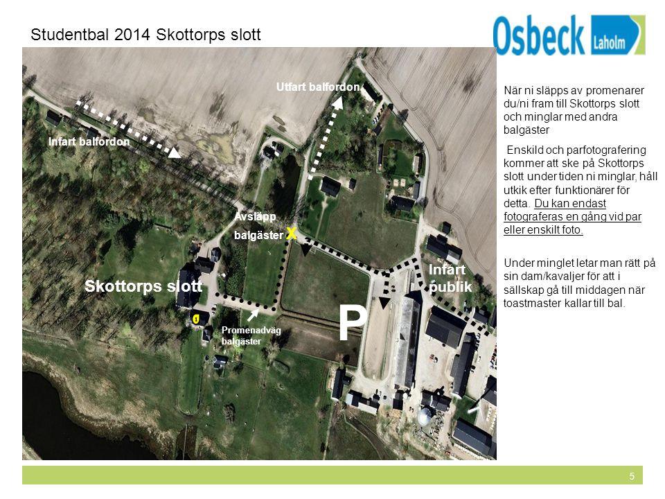 5 Avlämningsplats för balgäster Studentbal 2014 Skottorps slott P Promenadväg balgäster Avsläpp balgäster X Infart balfordon Utfart balfordon Infart p