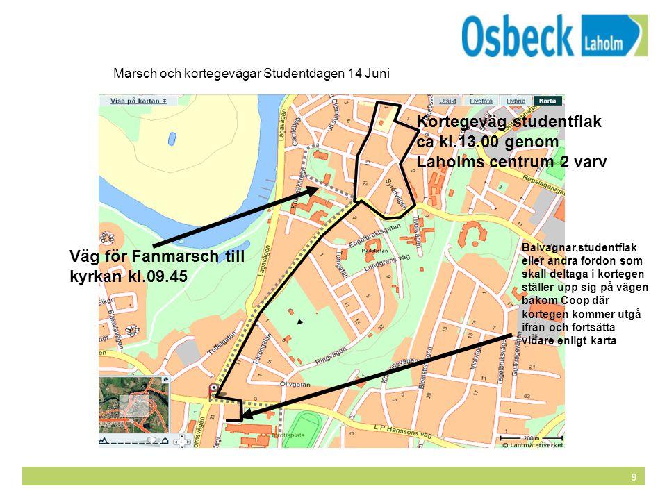9 Marsch och kortegevägar Studentdagen 14 Juni Kortegeväg studentflak ca kl.13.00 genom Laholms centrum 2 varv Väg för Fanmarsch till kyrkan kl.09.45