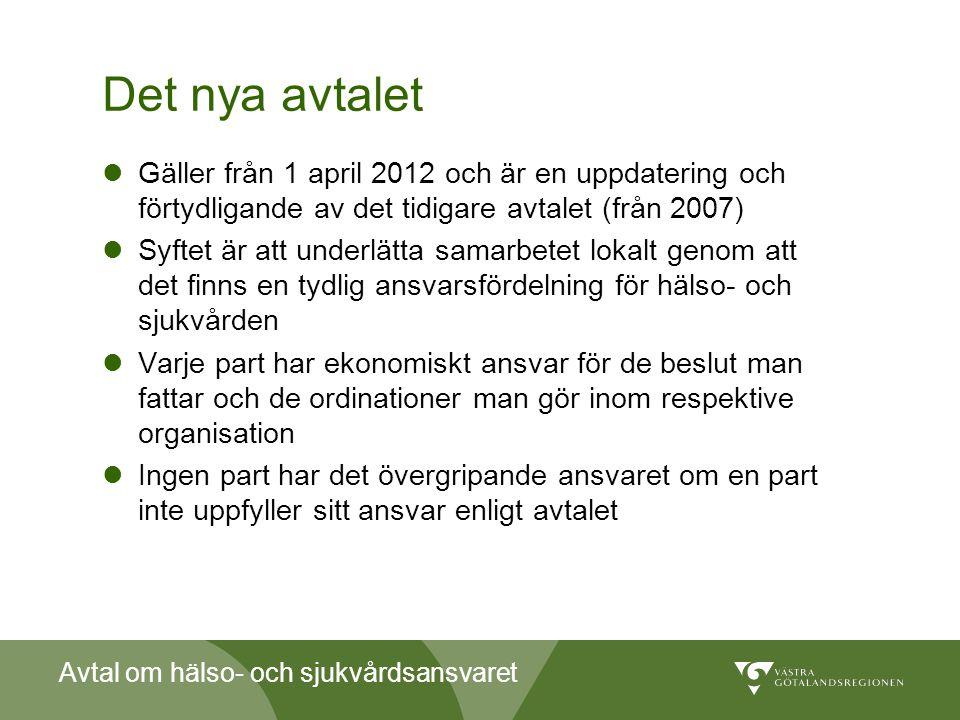 Avtal om hälso- och sjukvårdsansvaret Det nya avtalet  Gäller från 1 april 2012 och är en uppdatering och förtydligande av det tidigare avtalet (från