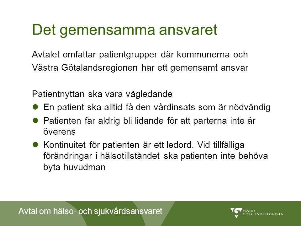 Avtal om hälso- och sjukvårdsansvaret Det gemensamma ansvaret Avtalet omfattar patientgrupper där kommunerna och Västra Götalandsregionen har ett geme