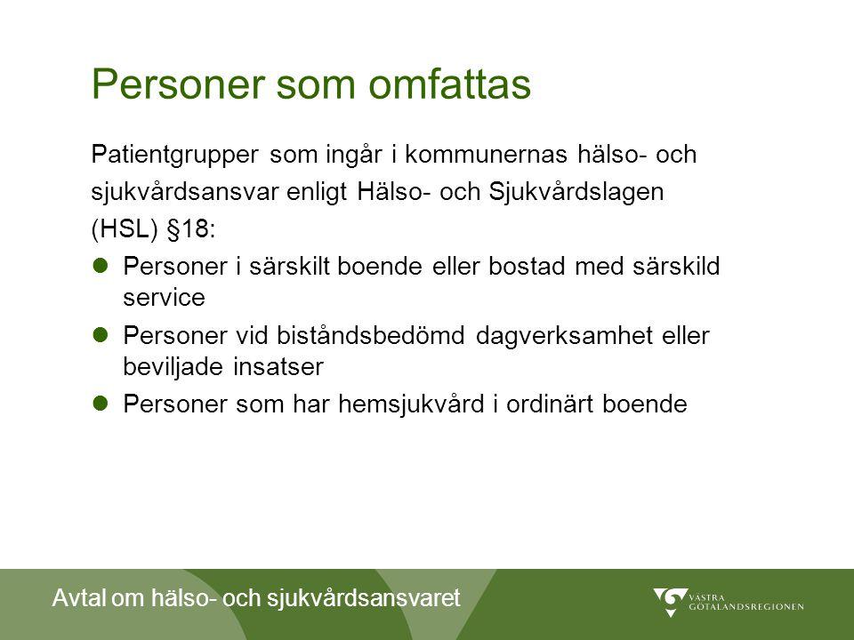 Avtal om hälso- och sjukvårdsansvaret Personer som omfattas Patientgrupper som ingår i kommunernas hälso- och sjukvårdsansvar enligt Hälso- och Sjukvå