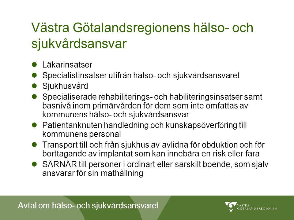 Avtal om hälso- och sjukvårdsansvaret Västra Götalandsregionens hälso- och sjukvårdsansvar  Läkarinsatser  Specialistinsatser utifrån hälso- och sju