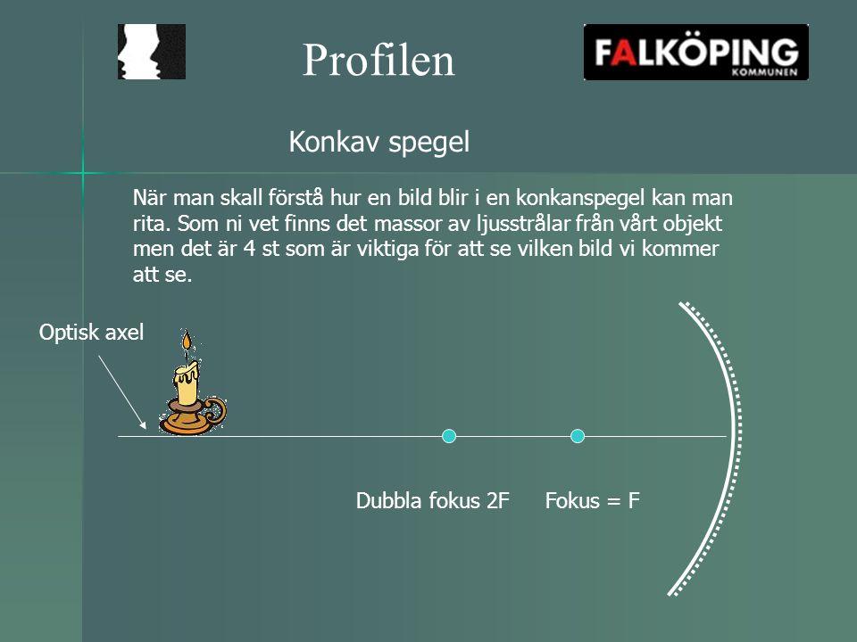 Profilen 1.In parallellt med optiska axeln, ut via F Rita hur bilden blir om objektet står på 2F 4.