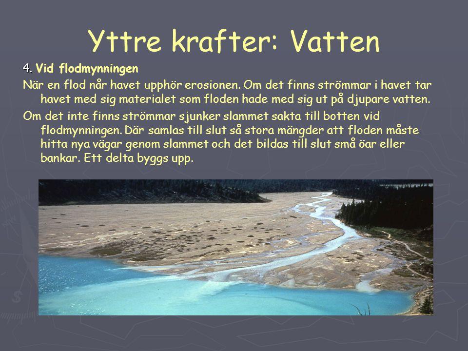Yttre krafter: Vatten 4. 4. Vid flodmynningen När en flod når havet upphör erosionen. Om det finns strömmar i havet tar havet med sig materialet som f