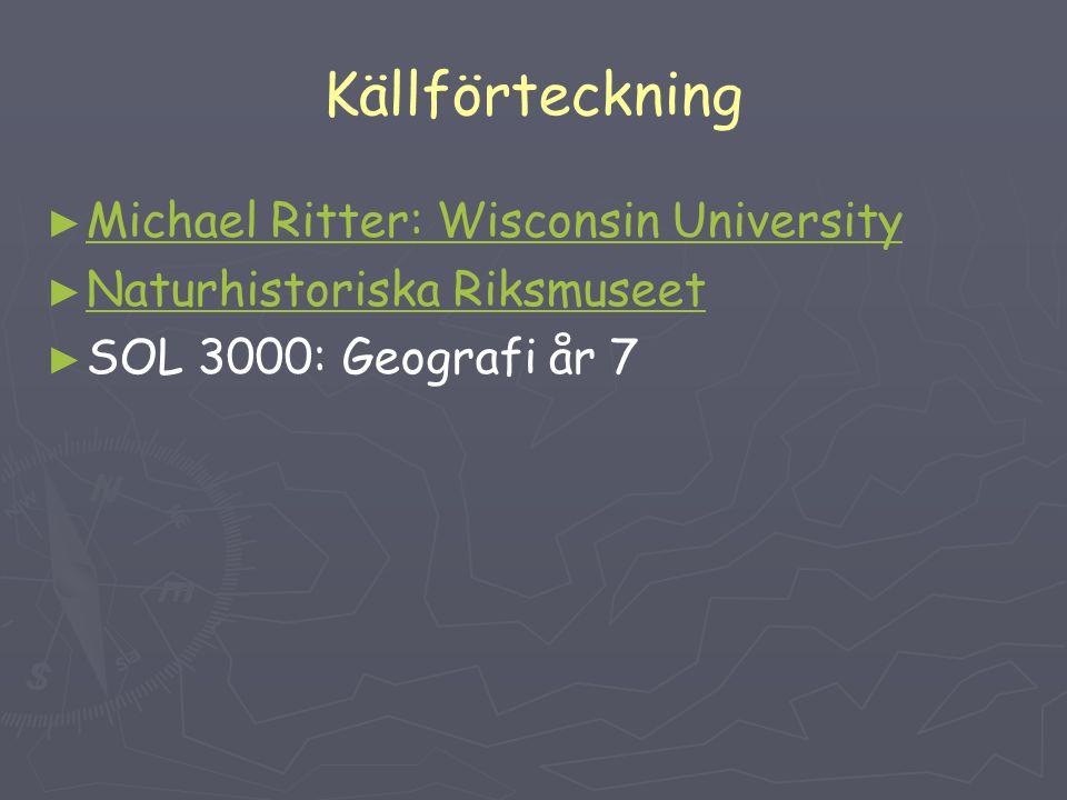 Källförteckning ► ► Michael Ritter: Wisconsin University Michael Ritter: Wisconsin University ► ► Naturhistoriska Riksmuseet Naturhistoriska Riksmusee