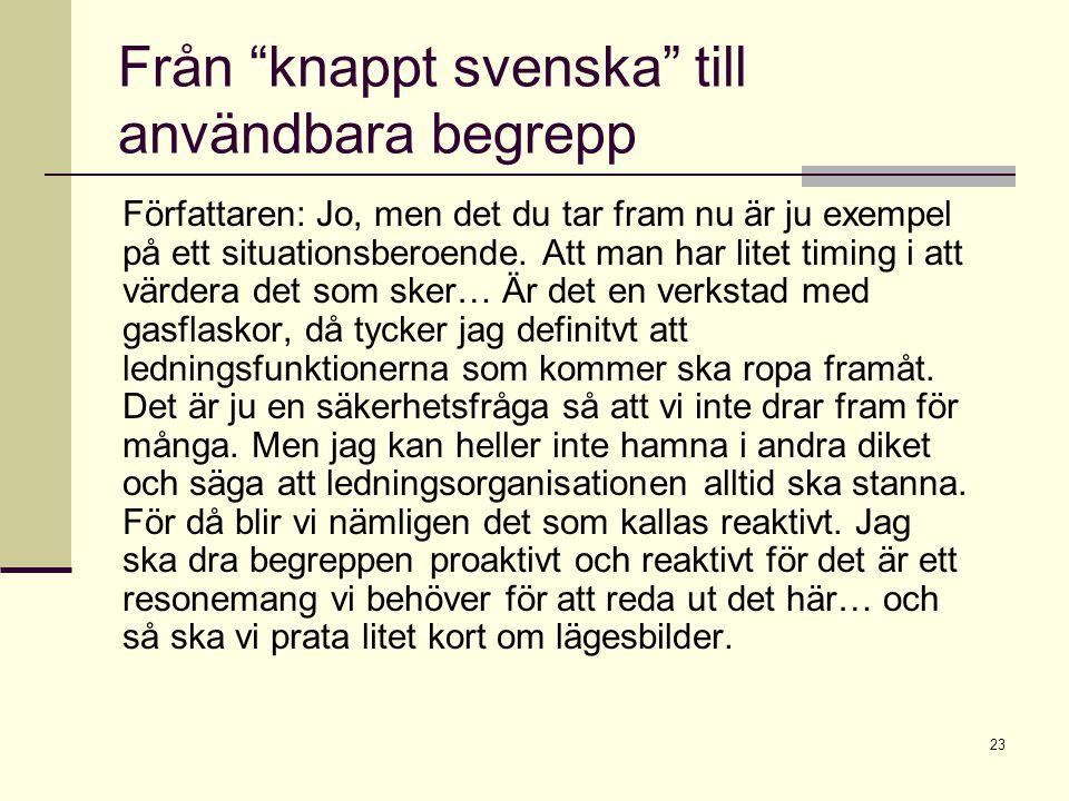 """23 Från """"knappt svenska"""" till användbara begrepp Författaren: Jo, men det du tar fram nu är ju exempel på ett situationsberoende. Att man har litet ti"""