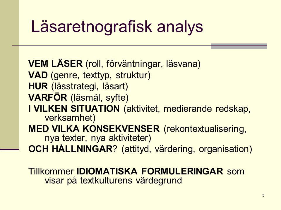 5 Läsaretnografisk analys VEM LÄSER (roll, förväntningar, läsvana) VAD (genre, texttyp, struktur) HUR (lässtrategi, läsart) VARFÖR (läsmål, syfte) I V