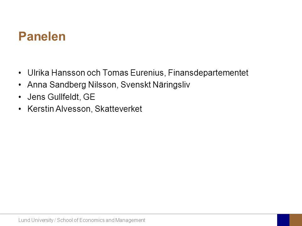 Lund University / School of Economics and Management Planering av dagens diskussion •Översikt över de nya reglerna •Paneldiskussion: –Implementering i svensk rätt där det i princip saknas handlingsutrymme –Implementering där det finns handlingsutrymme –Hur bör man implementera direktiv där svensk rätt är annorlunda utformad jämfört med EG-rätten