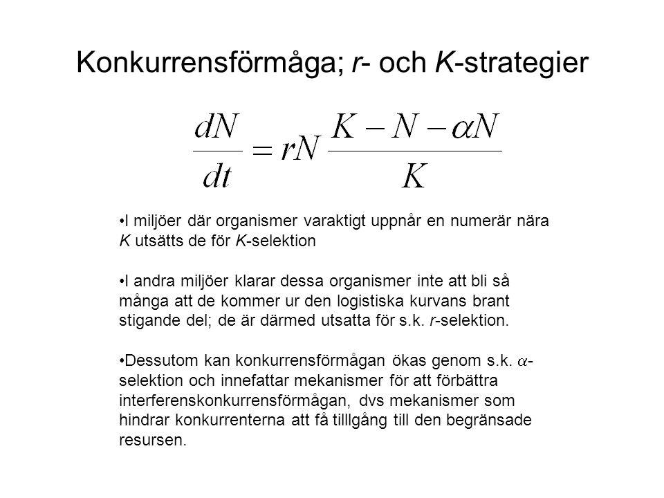 Konkurrensförmåga; r- och K-strategier •I miljöer där organismer varaktigt uppnår en numerär nära K utsätts de för K-selektion •I andra miljöer klarar