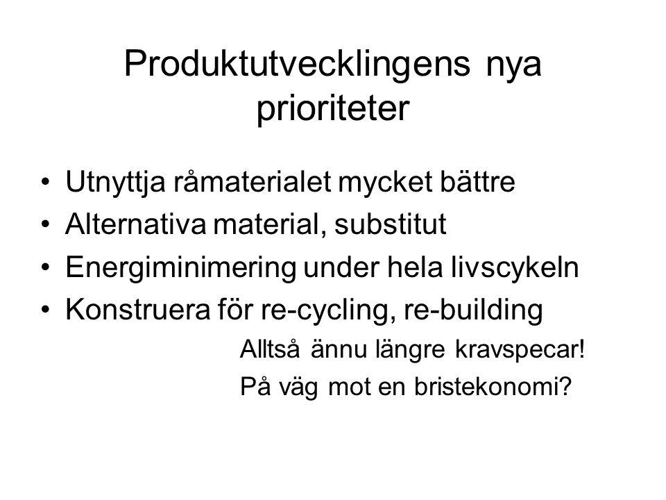 Produktutvecklingens nya prioriteter •Utnyttja råmaterialet mycket bättre •Alternativa material, substitut •Energiminimering under hela livscykeln •Konstruera för re-cycling, re-building Alltså ännu längre kravspecar.