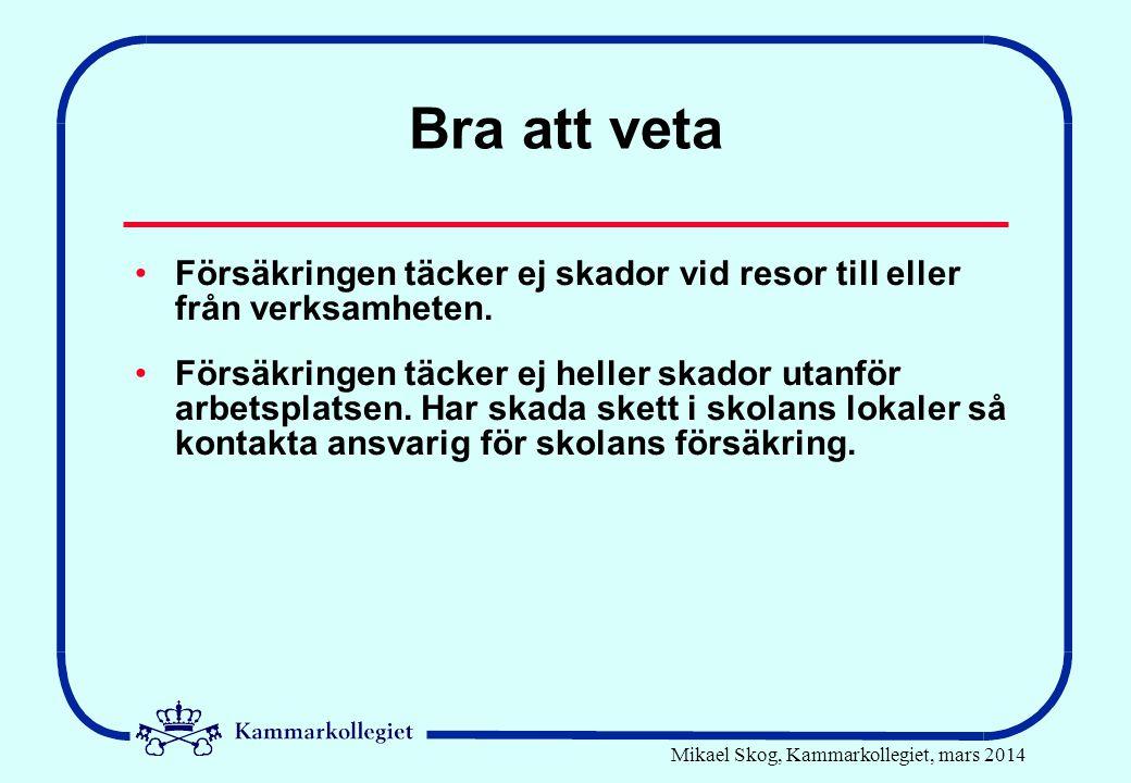 Mikael Skog, Kammarkollegiet, mars 2014 Bra att veta •Försäkringen täcker ej skador vid resor till eller från verksamheten. •Försäkringen täcker ej he