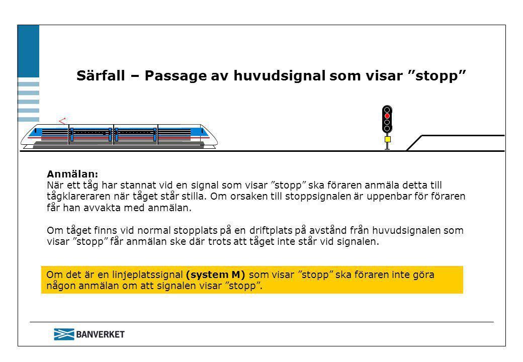 Särfall – Passage av huvudsignal som visar stopp Om det är en linjeplatssignal (system M) som visar stopp ska föraren inte göra någon anmälan om att signalen visar stopp .