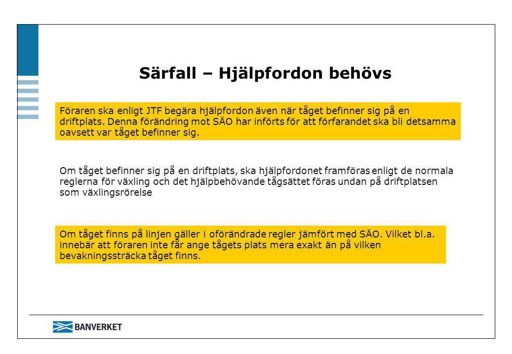 Särfall – Hjälpfordon behövs Föraren ska enligt JTF begära hjälpfordon även när tåget befinner sig på en driftplats.
