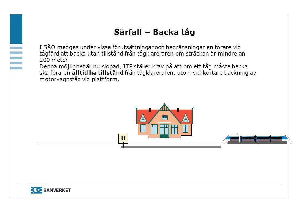 Särfall – Backa tåg I SÄO medges under vissa förutsättningar och begränsningar en förare vid tågfärd att backa utan tillstånd från tågklareraren om sträckan är mindre än 200 meter.
