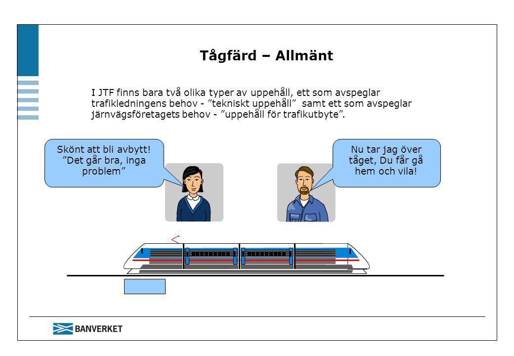 SÄO:s tidtabell ersätts i JTF av en körplan Förbereda tågfärd Körplan för tågfärd i system H