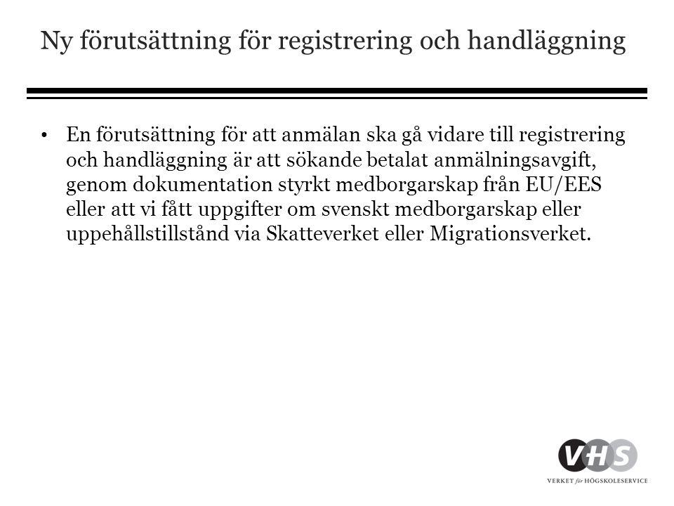 Ny förutsättning för registrering och handläggning • En förutsättning för att anmälan ska gå vidare till registrering och handläggning är att sökande