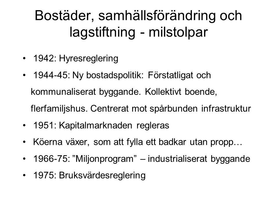 • 1969 Partiell avreglering av villor, bostadsrätter • 1970-talet total omsvängning.