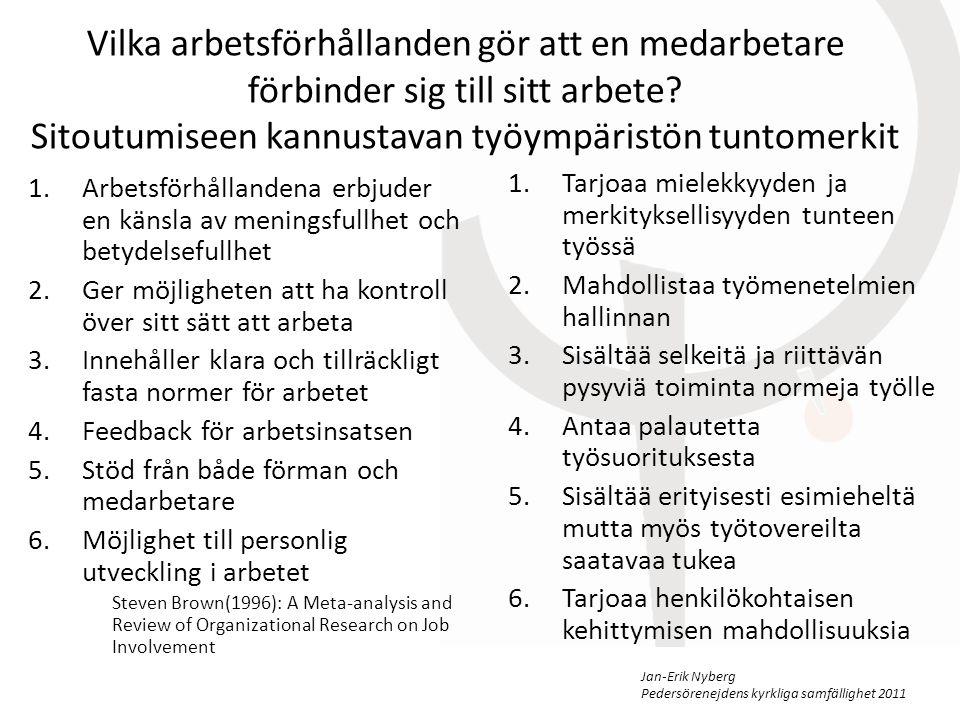Jan-Erik Nyberg Pedersörenejdens kyrkliga samfällighet 2011 Vilka arbetsförhållanden gör att en medarbetare förbinder sig till sitt arbete.