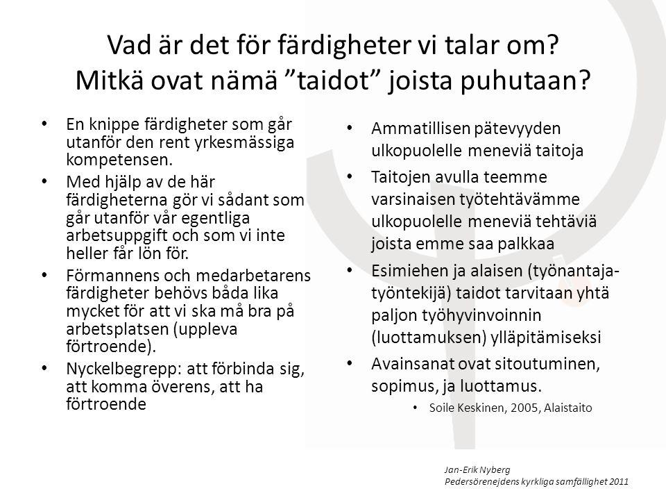 Jan-Erik Nyberg Pedersörenejdens kyrkliga samfällighet 2011 Vad krävs av en kompetent förman/medarbetare Vilken är skillnaden mellan att ha färdigheter som förman och som medarbetare.