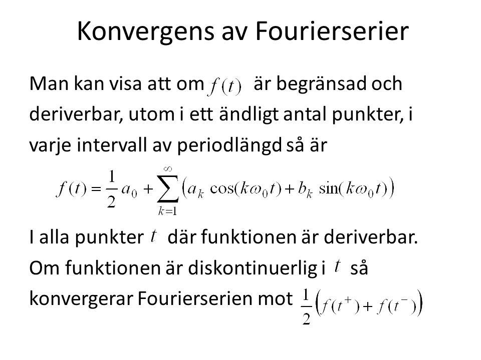 Konvergens av Fourierserier Man kan visa att om är begränsad och deriverbar, utom i ett ändligt antal punkter, i varje intervall av periodlängd så är