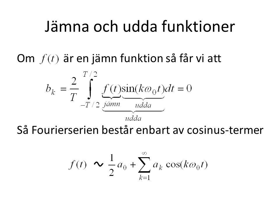 Jämna och udda funktioner Om är en jämn funktion så får vi att Så Fourierserien består enbart av cosinus-termer