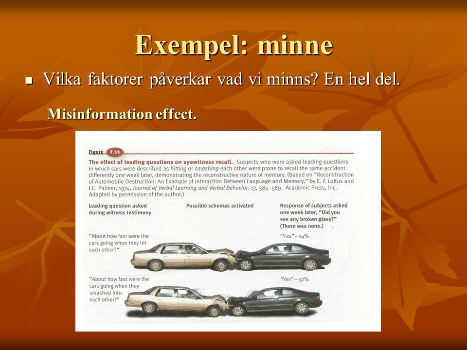 Exempel: minne  Vilka faktorer påverkar vad vi minns? En hel del. Misinformation effect.